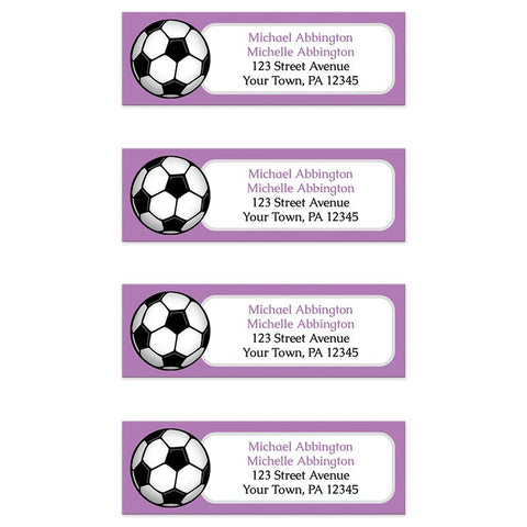 Purple Soccer Ball Return Address Labels at Artistically Invited