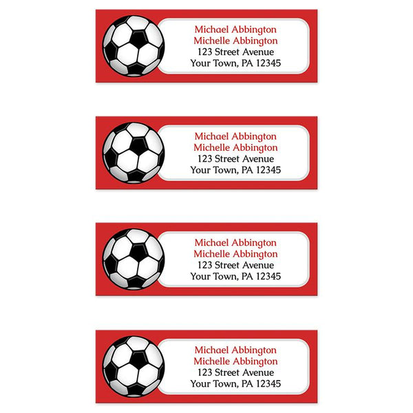 Red Soccer Ball Return Address Labels at Artistically Invited