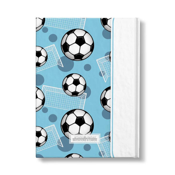"Soccer Ball and Goal Pattern Blue Personalized 5"" x 7"" Journal - backside"