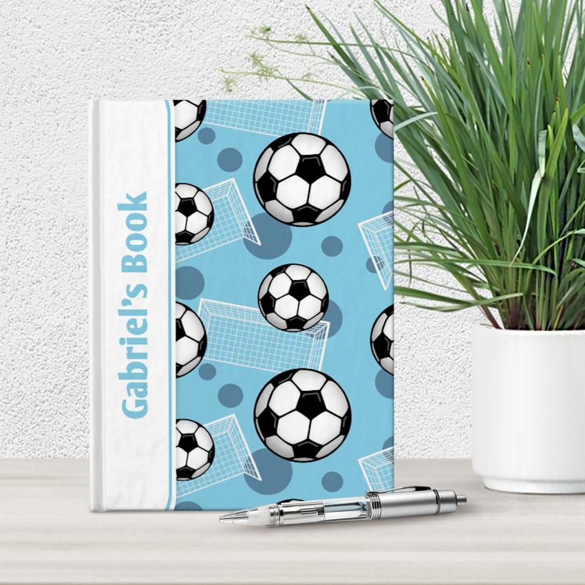"Soccer Ball and Goal Pattern Blue Personalized 5"" x 7"" Journal"