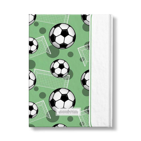 "Soccer Ball and Goal Pattern Green Personalized 5"" x 7"" Journal - backside"