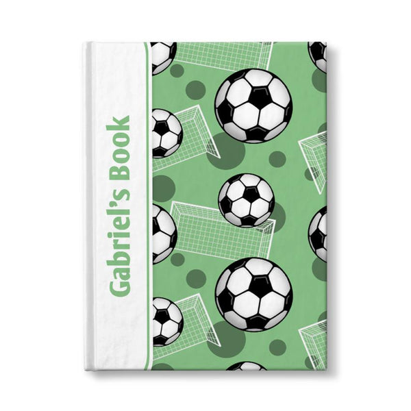 "Soccer Ball and Goal Pattern Green Personalized 5"" x 7"" Journal"