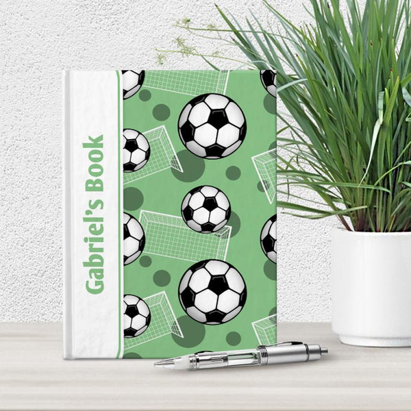 Personalized Green Soccer Journal at Artistically Invited