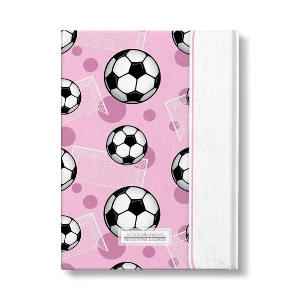 "Soccer Ball and Goal Pattern Pink Personalized 5"" x 7"" Journal - backside"