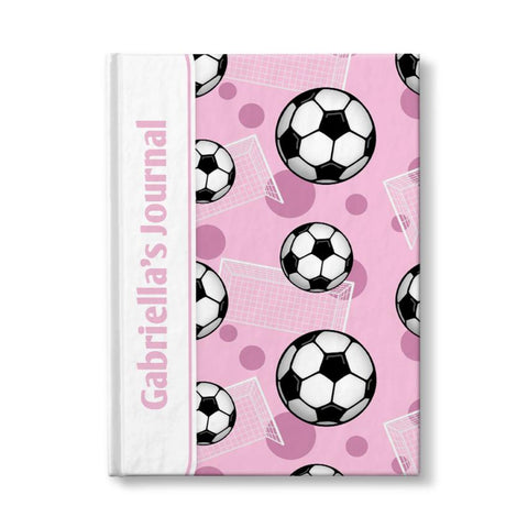 "Soccer Ball and Goal Pattern Pink Personalized 5"" x 7"" Journal"