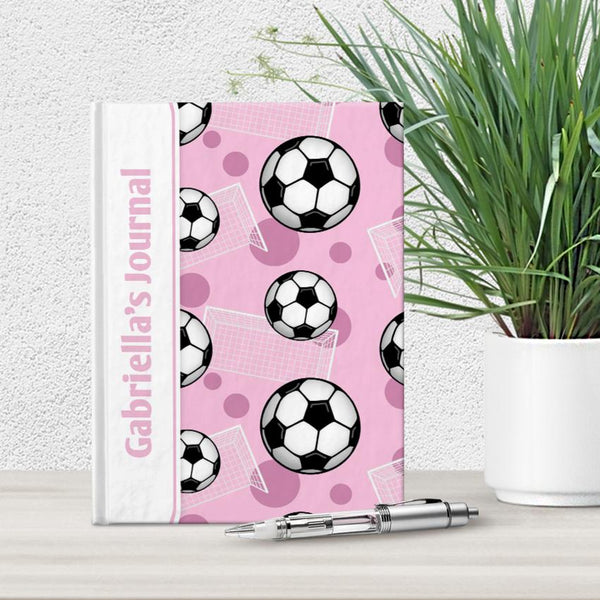 Personalized Pink Soccer Journal at Artistically Invited