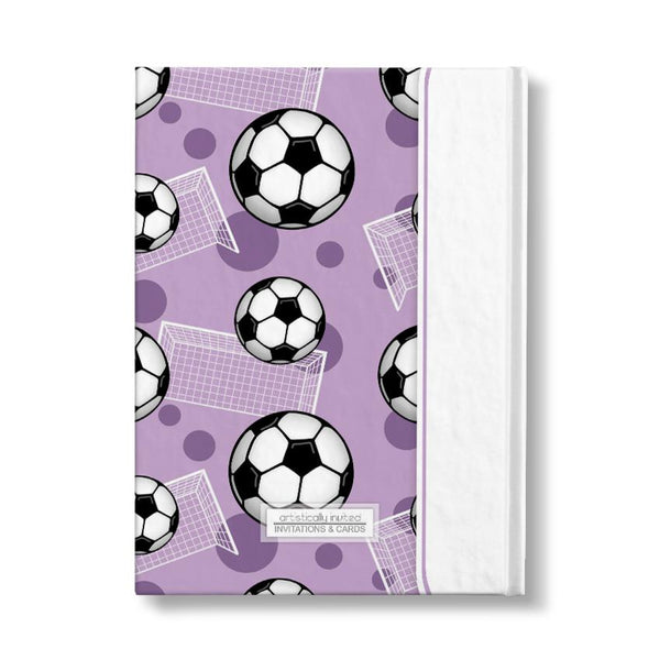 "Soccer Ball and Goal Pattern Purple Personalized 5"" x 7"" Journal - Artistically Invited"
