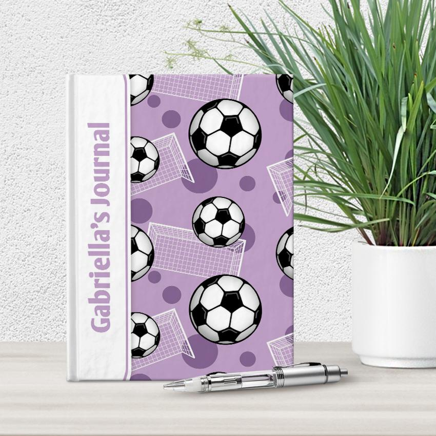 "Soccer Ball and Goal Pattern Purple Personalized 5"" x 7"" Journal at Artistically Invited"