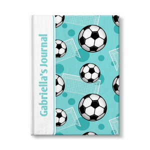 "Soccer Ball and Goal Pattern Teal Personalized 5"" x 7"" Journal"
