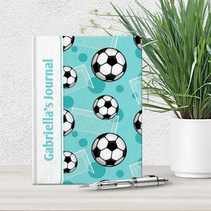 Personalized Teal Soccer Journal at Artistically Invited