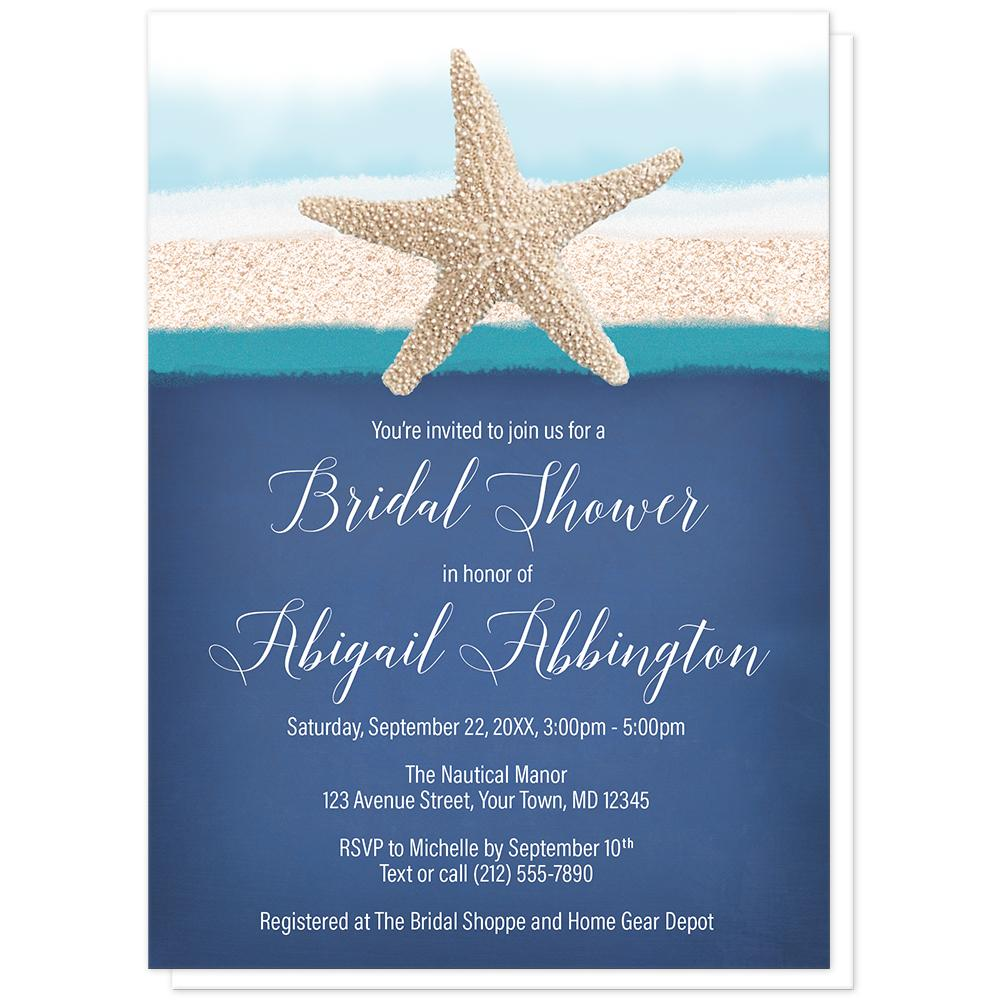Starfish Navy Blue Teal Beach Bridal Shower Invitations at Artistically Invited