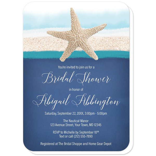 Starfish Navy Blue Teal Beach Bridal Shower Invitations (rounded corners) at Artistically Invited