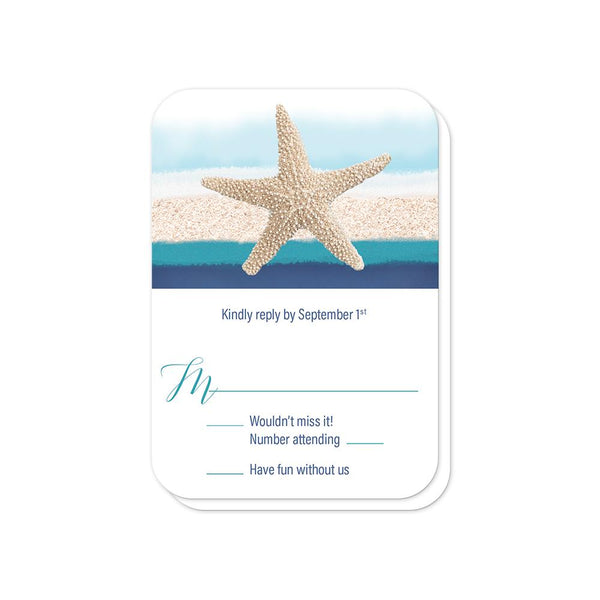 Starfish Navy Blue Teal Beach Wedding RSVP (rounded corners) at Artistically Invited
