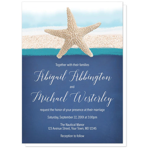 Starfish Navy Blue Teal Beach Wedding Invitations at Artistically Invited