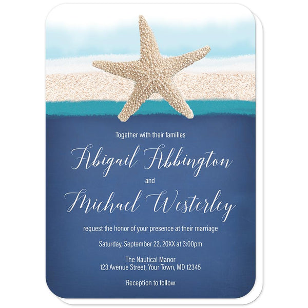 Starfish Navy Blue Teal Beach Wedding Invitations (rounded corners) at Artistically Invited
