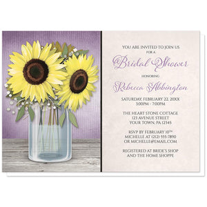 Sunflower Purple Mason Jar Rustic Bridal Shower Invitations at Artistically Invited