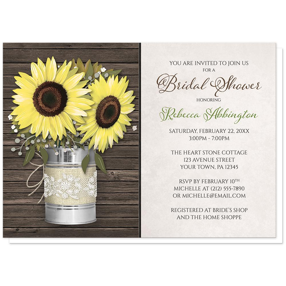 Sunflower Rustic Burlap and Lace Tin Can Bridal Shower Invitations at Artistically Invited