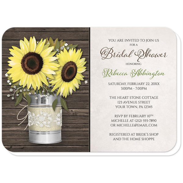 Sunflower Rustic Burlap and Lace Tin Can Bridal Shower Invitations (rounded corners) at Artistically Invited