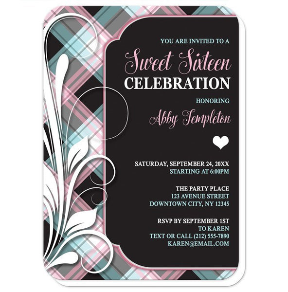 Pink Blue and Black Plaid Flourish Sweet 16 Invitations - Artistically Invited