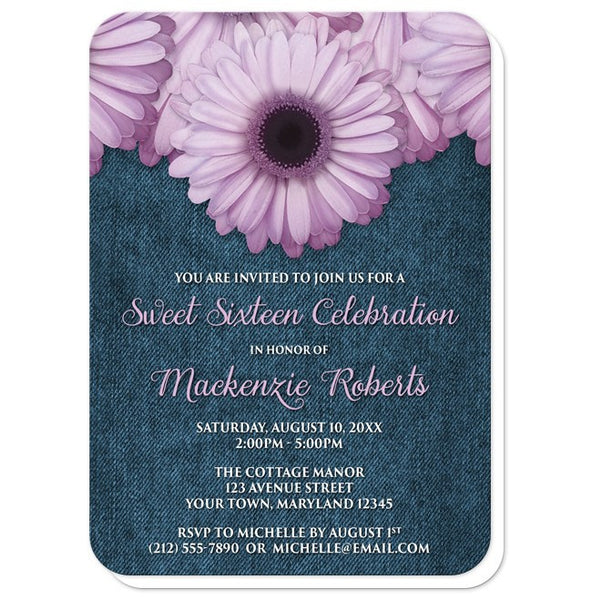 Sweet 16 Invitations - Rustic Purple Daisy Denim - rounded corners