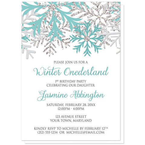 Teal Silver Snowflake 1st Birthday Winter Onederland Invitations at Artistically Invited