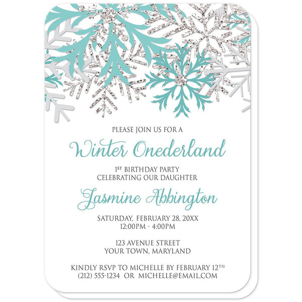 Teal Silver Snowflake 1st Birthday Winter Onederland Invitations (rounded corners) at Artistically Invited