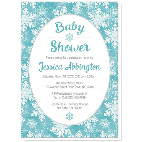 Teal Snowflake Baby Shower Invitations at Artistically Invited