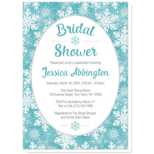 Teal Snowflake Bridal Shower Invitations at Artistically Invited