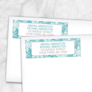 Teal Snowflake Winter Return Address Labels at Artistically Invited