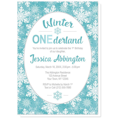 Teal Snowflake 1st Birthday Winter Onederland Invitations