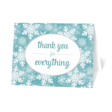 Teal Snowflake Winter Thank You Cards at Artistically Invited
