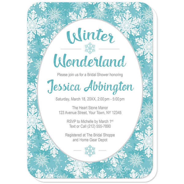 Teal Snowflake Winter Wonderland Bridal Shower Invitations (rounded corners) at Artistically Invited