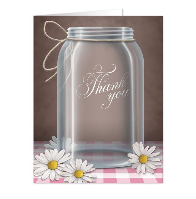 Country Mason Jar Gingham Daisy Thank You Cards at  Artistically Invited