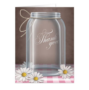 Country Mason Jar Gingham Daisy Thank You Cards - Artistically Invited
