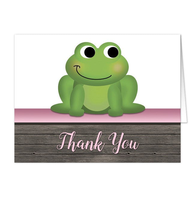 Thank You Cards - Cute Froggy Green Pink Rustic Wood
