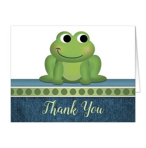 Cute Froggy Green Rustic Denim Thank You Cards