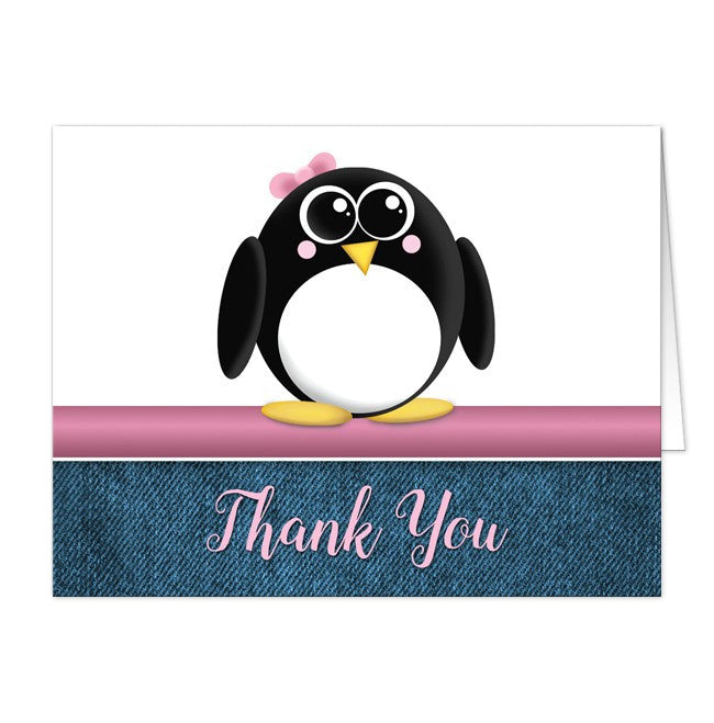 Cute Penguin Pink Rustic Denim Thank You Cards