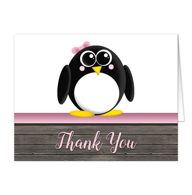 Cute Penguin Pink Rustic Wood Thank You Cards at  Artistically Invited