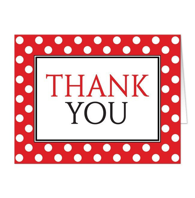 Thank You Cards - Polka Dot Red Black and White