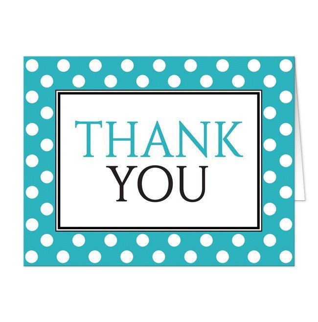Polka Dot Turquoise Black and White Thank You Cards at  Artistically Invited