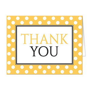 Thank You Cards - Polka Dot Yellow Black and White