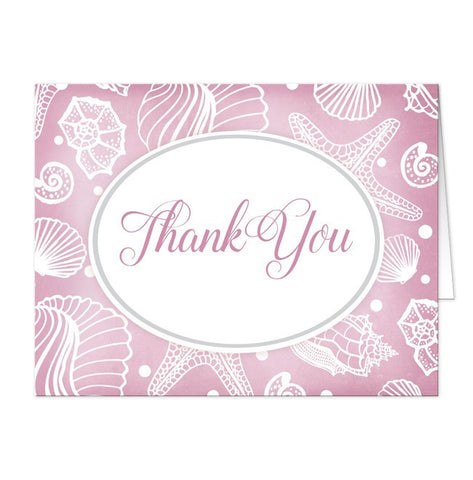 Pretty Pink Seashell Beach Thank You Cards - Artistically Invited