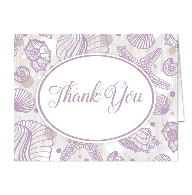 Purple Seashell Whitewashed Wood Beach Thank You Cards - Artistically Invited