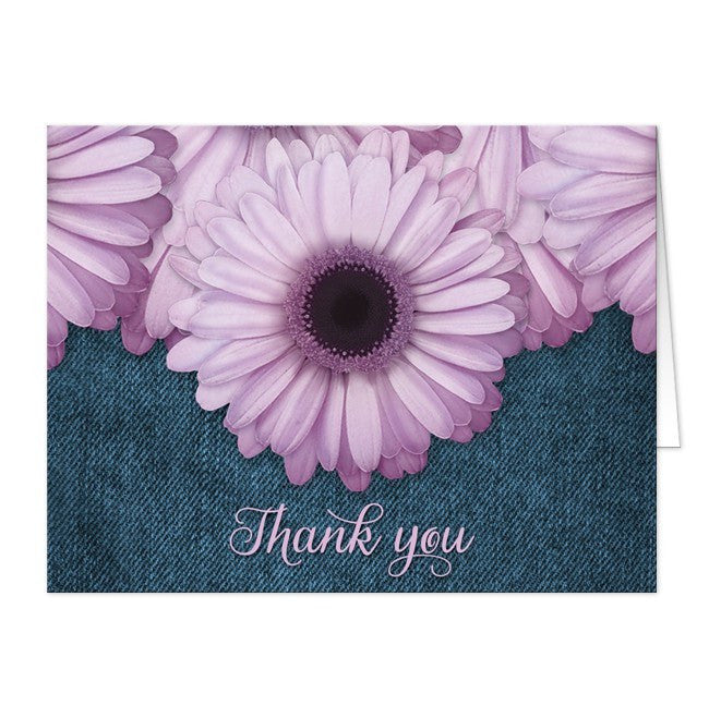 Thank You Cards - Rustic Purple Daisy Denim
