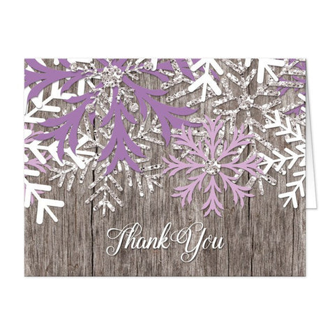 Thank You Cards - Rustic Winter Wood Purple Snowflake