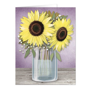 Note Cards - Sunflower Purple Mason Jar Rustic