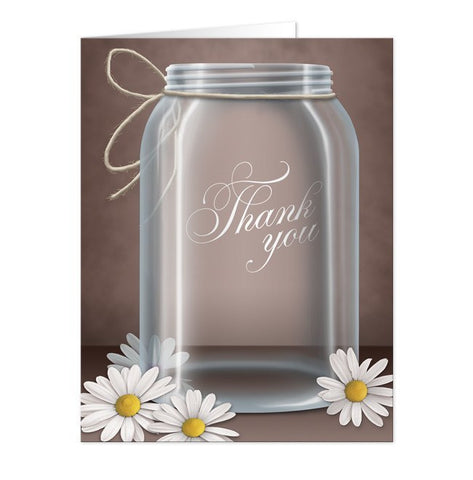 Vintage Rustic Mason Jar Daisy Thank You Cards - Artistically Invited