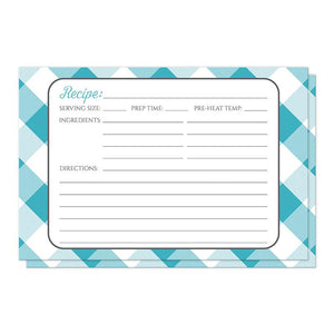 Turquoise Gingham Recipe Cards at Artistically Invited