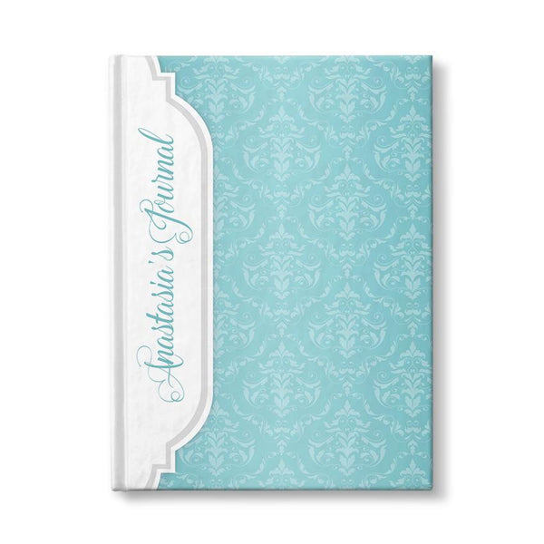 Personalized Turquoise Damask Journal at Artistically Invited