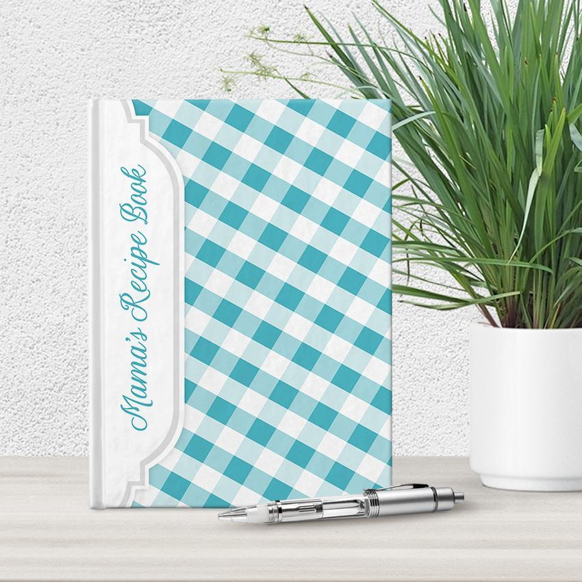 Personalized Turquoise Gingham Recipe Book at Artistically Invited